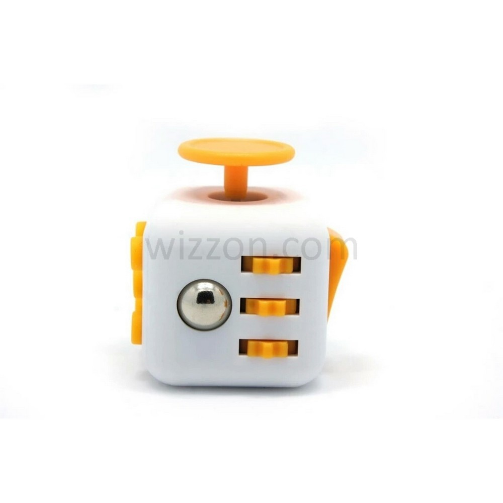 Hand Finger Fidget Cube White Body Yellow Buttons