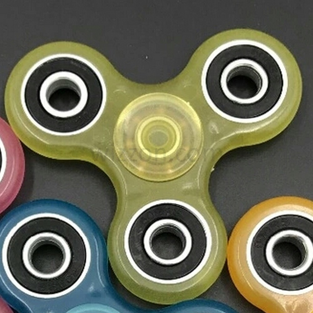 Hand Finger Fidget Tri Spinner Glow In The Dark Yellow